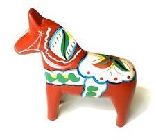 Vintage Akta Dala Hemslojd Painted Swedish Dala Horse Folk Art Figure Alexander