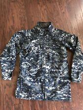 USN US Navy Working Uniform Blue Gore-Tex Parka Jacket Size: Small-Long
