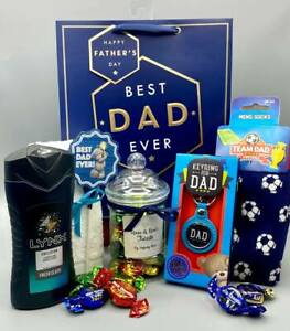 """Dads LYNX Fathers Day Gift Bag """"BEST DAD EVER"""" Football Socks Walkers Toffee Jar"""