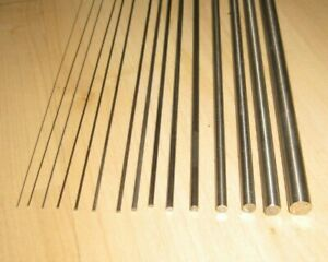 Stainless Steel Piano Wire, straight rods. From 0.3mm to 5.0mm diam. 330mm long.
