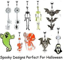 New Spooky Gothic Belly Bars Dangle & Fixed Designs Ghost, Bats, Halloween Goth