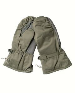 German Army Goretex Winter Fur Lined Mitts in Olive Leather Palm Thumb Grade 1