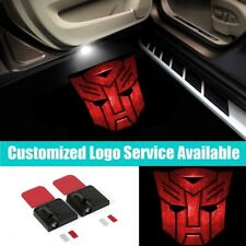 2X Wireless Led Car Door Red Transformers Autobots Logo Welcome Shadow Light