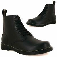 Mens Faux Leather Biker Boots Smart Fashion Lace Up Ankle Riding Hiking Shoes