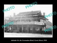 OLD LARGE HISTORIC PHOTO OF ADELAIDE SA, THE CORONATION HOTEL, CURRIE St c1938