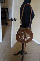 NEW Tylie Malibu Bohemian Whip Stitch Suede Drawstring Hobo Shoulder Bag Brown