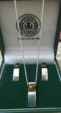 925 STERLING SILVER NECKLACE & STUD EARRINGS SET, OLIVE COPAL/AMBER