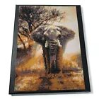 Gray Brown Black Elephant Handmade Beaded Canvas Art 14x11 in Wrapped Canvas
