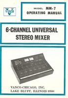 Vanco Original Genuine Model MM-7 6 Channel Universal Stereo Mixer Owners Manual