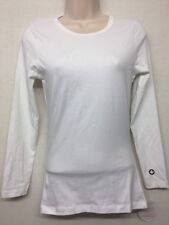 NEW Women's White Cross Basic Tee Long Sleeve Crew Neck Stretch Fitted Lydia XS