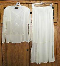 SPENCER ALEXIS IVORY CREAM SEQUIN LACE VICTORIAN STYLE OUTFIT TOP SKIRT~8 BRIDE