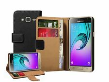 Samsung Galaxy J3 Duos (2016) Wallet BLACK Leather Case Cover