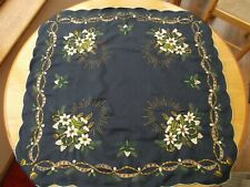 CHRISTMAS  Embroidered TABLE CLOTH - BLUE with CANDLE and FLOWER DESIGN