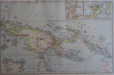 Victorian Mappa 1896 DELLA NUOVA GUINEA & Papua ARCIPELAGO il Times ATLAS 1st Gen