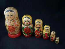 USSR Matryoshka Russian Nesting Dolls Set of 6 Wooden Hand Painted 1987