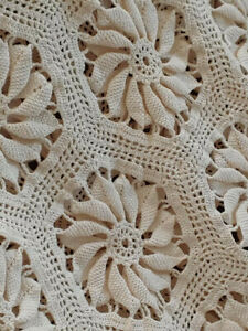 Crocheted Ivory King Afghan Throw Prestige Condition