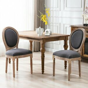 US Upholstered Fabrice French Dining Chair with rubber legs Set of 2 Dark Gray