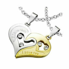 2 Pendants Secable + 2 Chains Man Woman Couple Steel And Plate Gold Heart