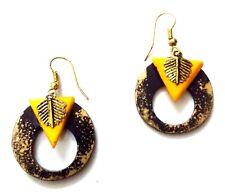Handmade Painted Wooden Wood Earrings Jhumki Ethnic Chic Boho Drop Long EA303