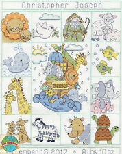 Cross Stitch Kit ~ Design Works Noah's Ark Baby Sampler Birth Record #T21774