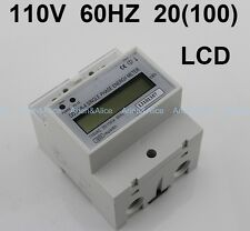 20(100)A 110V 60HZ DDS238-4 Single phase Din rail KWH Watt hour din-rail energy