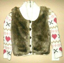 "Jillians Closet Nwot 3-4y"" Valenntine Heart"" cardigan,faux fur"
