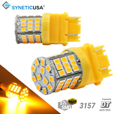 Syneticusa 3157 3156 LED Amber Turn Signal DRL Side Marker Light Bulbs