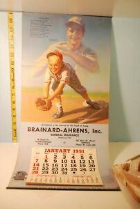 "1951 Lou Gehrig ""Atta Boy"" Wall Calendar National Hall of Fame Collection Medcal"