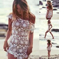 Women Summer Lace Floral Swimwear Bikini Crochet Cover Up Beach Dress Shirt Tops