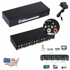 AV Switch Box Audio Video Signal Switcher Splitter 8 Port RCA 1 In 8 Out To TV