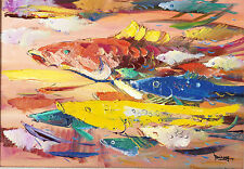 The World of Big Fishes, by a Famous Chinese Painter (Fine-Art Print on Canvas)