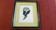 Antique Hand Painted Signed Silhouette 17th 18th Century Edwardian Georgian Maid