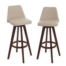 2x tabouret de bar Boras, chaise de comptoir ~ crème, pieds foncés