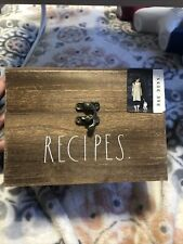 "New listing New Rae Dunn ""Recipes� Recipe Box Wooden Latch Closure Rustic Farmhouse Kitchen"