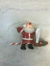 Fun Wooden Santa Claus on Stick Reindeer Christmas Holiday Ornament Please Read