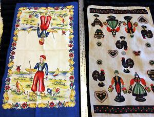 Set of 2 Vintage Dutch Tea Towels Vibrant Colors EUC!