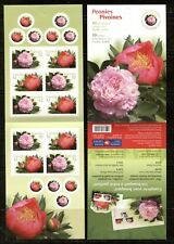 CANADA 2008, FLOWERS: PEONIES, Scott 2262b, COMPLETE BOOKLET OF 5 PAIRS, MNH