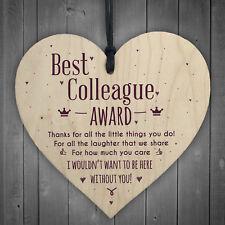 Best Colleague Award Hanging Heart Plaque Work Friendship FRIEND Sign Thank You