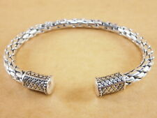"""Bali Style 925 Stering Silver Scales Torque Bangle Bracelet Cuff 6"""" - 7"""" 35g"""