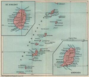 ST VINCENT, GRENADA & THE GRENADINES. Lesser Antilles. West Indies 1927 map