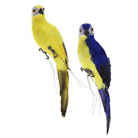 2x Lifelike Bird Ornament Figurine Parrot Statue Lawn Sculpture Yellow Blue