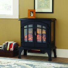 Infrared Electric Stove Space Heater Fireplace Matte Black Large Room Portable