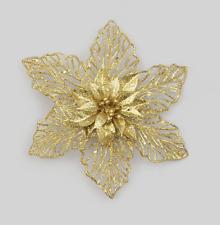 New Design Clip-on Double Flower 18cm Gold Pack x6