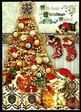 Christmas Cats Kittens Tree Stockings Hats 3-D - Christmas Greeting Card New