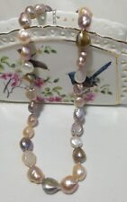 Genuine silver+11-12mm baroque freshwater pearl necklace L46+4.5cm multi-color