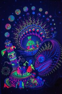 Psychedelic Tapestry Ayahuasca Fluorescent Print Fabric Backdrop Banner UV DMT