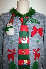Ugly Christmas Sweater Rudolph's Bumble Neck Tie Mens SIZE Medium Lights Up 5669