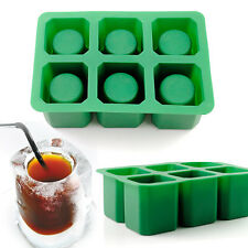 6-Cups Square Ice Cube Shot Glass Tray Silicone Mold Cool Shooters Jello Mould