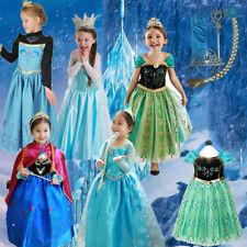 Kids Girls Princess Queen Elsa Anna Halloween Cosplay Costume Fancy Dress Skirt