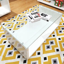 Coffee Table White High Gloss Glass Side Living Room Modern